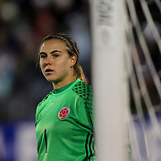 Goalkeeper Catalina Perez, Colombia, in action during the USA Vs Colombia, Women's International friendly football match at the Pratt & Whitney Stadium, East Hartford, Connecticut, USA. 6th April 2016. Photo Tim Clayton