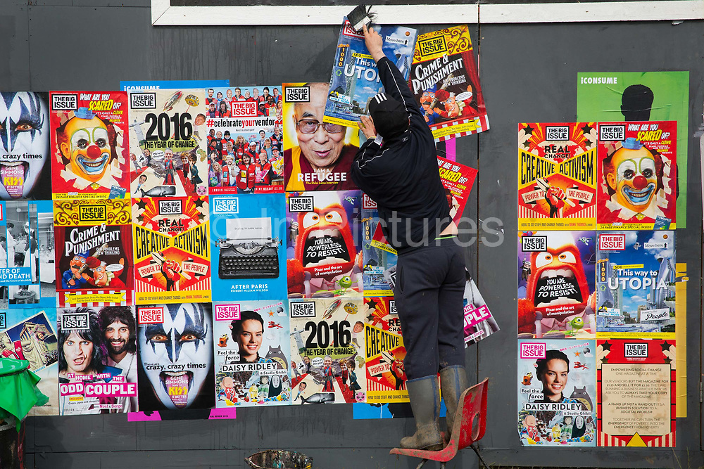 Big issue seller pasting up covers in the Shangri La field, Glastonbury Festival 2016. Glastonbury Festival is the largest greenfield festival in the world, and is now attended by around 175,000 people. Its a five-day music festival that takes place near Pilton, Somerset, United Kingdom. In addition to contemporary music, the festival hosts dance, comedy, theatre, circus, cabaret, and other arts. Held at Worthy Farm in Pilton, leading pop and rock artists have headlined, alongside thousands of others appearing on smaller stages and performance areas.