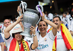 Supporters of Real Madrid and Spain during the UEFA Champions League final football match between Liverpool and Real Madrid at the Olympic Stadium in Kiev, Ukraine on May 26, 2018.Photo by Sandi Fiser / Sportida