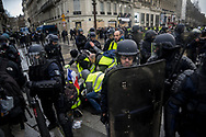 Many were injured during the protest. More than 125000 gathered in Paris for the Gilets Jaune (Yellow vest) protest. Soon the protest turned violent an protesters clashed with the police, tear gas and flash bombs were fired, many injured and arrested by the police. Paris December 6th 2018. Federico Scoppa