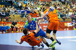 14-04-2019 SLO: Qualification EHF Euro Slovenia - Netherlands, Celje<br /> Blaz Blagotinsek of Slovenia vs Evert Kooijman of Netherlands during handball match between National teams of Slovenia and Netherlands in Qualifications of 2020 Men's EHF EURO