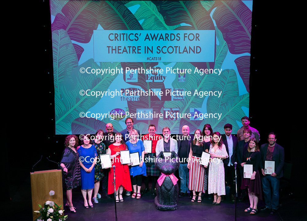 EMBARGOED UNTIL 18.00 (6PM) 10.06.18 <br />Critics' Awards for Theatre in Scotland at Perth Theatre…All the winners pictured on the stage with presenter Blythe Duff<br />for further info contact Lesley Booth at CATS on 07799 414474<br />Picture by Graeme Hart.<br />Copyright Perthshire Picture Agency<br />Tel: 01738 623350  Mobile: 07990 594431