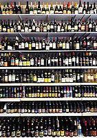 Alcohol display in an off-licence in the Belgian capital