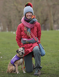 Vanessa Holbrow, aged 47 from Burnham on Sea in Somerset with her Border Terrier Sir Jack Spratticus, during a photocall by The Kennel Club in Green Park, London, to announce the finalists for the Crufts dog hero competition, Friends for Life 2018.