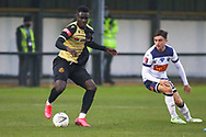 Marine forward Mo Touray (10) controls the ball during the The FA Cup match between Marine and Havant & Waterlooville FC at Marine Travel Arena, Great Crosby, United Kingdom on 29 November 2020.