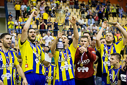 Blaz Janc, Kristian Beciri, Luka Zvizej, Urban Lesjak celebrate during trophy ceremony when RK Celje Pivovarna Lasko awarded as National Champions 2017 after handball match between RK Celje Pivovarna Lasko and RK Gorenje Velenje in Last Round of 1. Liga NLB 2016/17, on June 2, 2017 in Arena Zlatorog, Celje, Slovenia. Photo by Vid Ponikvar / Sportida