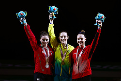 Wales' Latalia Bevan with her silver medal (left), Australia's Alexandra Eade (centre) with her gold medal and Canada's Shallon Olsen with her bronze medal won in the Women's Floor Exercise at the Coomera Indoor Sports Centre during day five of the 2018 Commonwealth Games in the Gold Coast, Australia.