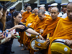 October 13, 2017 - Bangkok, Thailand - Buddhist monks participate in a mass merit making with 199 monks from 14 different temples at Siriraj Hospital in Bangkok to honor Bhumibol Adulyadej, the Late King of Thailand, on the anniversary of his death. The revered King died on October 13, 2016 after a prolonged hospitalization. He has lain in state for the last year. The King's four day funeral ceremony will be October 25 - 29, and he will be cremated on October 26. (Credit Image: © Sean Edison via ZUMA Wire)