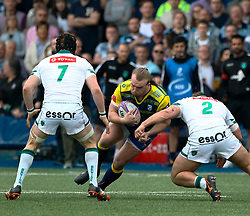 Cardiff Blues' Kristian Dacey under pressure from Pau's Quentin Lespiaucq<br /> <br /> Photographer Simon King/Replay Images<br /> <br /> European Rugby Challenge Cup - Semi Final - Cardiff Blues v Pau - Saturday 21st April 2018 - Cardiff Arms Park - Cardiff<br /> <br /> World Copyright © Replay Images . All rights reserved. info@replayimages.co.uk - http://replayimages.co.uk