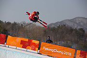 Peter Speight, Great Britain, during the mens skiing halfpipe Qualification at the Pyeongchang 2018 Winter Olympics on February 20th 2018, at the Phoenix Snow Park in Pyeongchang-gun, South Korea.