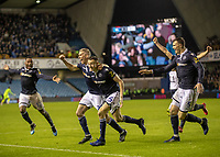 Football - 2018 / 2019 Emirates FA Cup - Fourth Round: Millwall vs. Everton<br /> <br /> Millwall players celebrate after scoring in the dying seconds and knocking out premier league Everton at The Den.<br /> <br /> COLORSPORT/DANIEL BEARHAM