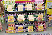 Health food products in shop window display