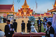"""04 FEBRUARY 2013 - PHNOM PENH, CAMBODIA:  The crematorium during the cremation of King-Father Norodom Sihanouk in Phnom Penh. Norodom Sihanouk (31 October 1922- 15 October 2012) was the King of Cambodia from 1941 to 1955 and again from 1993 to 2004. He was the effective ruler of Cambodia from 1953 to 1970. After his second abdication in 2004, he was given the honorific of """"The King-Father of Cambodia."""" Sihanouk died in Beijing, China, where he was receiving medical care, on Oct. 15, 2012.   PHOTO BY JACK KURTZ"""