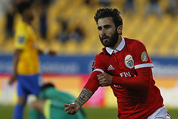 April 21, 2018 - Estoril, Estoril, Portugal - SL Benfcas Forward Rafa Silva from Portugal celebrating after scoring a goal during the Premier League 2017/18 match between Estoril Praia v SL Benfica, at Estadio Antonio Coimbra da Mota in Estoril on April 21, 2018. (Credit Image: © Dpi/NurPhoto via ZUMA Press)