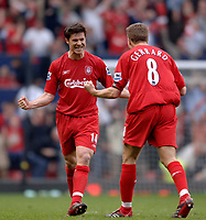 Photo: Glyn Thomas.<br />Chelsea v Liverpool. The FA Cup, Semi-Final. 22/04/2006.<br />Liverpool's Xabi Alonso (L) celebrates with Steven Gerrard.