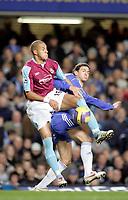 Photo: Marc Atkins.<br />Chelsea v West Ham United. The Barclays Premiership. 18/11/2006.  Khalid Boulahrouz, of Chelsea in action with Bobby Zamora of West Ham.