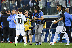 June 21, 2018 - Nizhny Novogorod, Russia - Lionel Messi of Argentina leaves dejected the pitch during the FIFA World Cup Group D match between Argentina and Croatia at Nizhny Novogorod Stadium in Nizhny Novogorod, Russia on June 21, 2018  (Credit Image: © Andrew Surma/NurPhoto via ZUMA Press)
