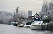 © Licensed to London News Pictures. 12/12/2012. Henley, UK Boats moored amongst frosty trees on the River Thames. Frosty weather around Henley today 12 December 2012. Fog and ice has caused disruption around the country.  Photo credit : Stephen Simpson/LNP