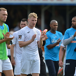 TELFORD COPYRIGHT MIKE SHERIDAN Jon Royle, Chris Laiot and Matthew Barnes-Holmer applaud the fans during the National League North fixture between Kettering Town and AFC Telford United at Latimer Park on Saturday, August 3, 2019<br /> <br /> Picture credit: Mike Sheridan<br /> <br /> MS201920-005