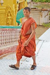 Monk At Phnom Sampeau Pagoda