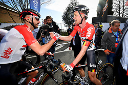 April 11, 2018 - Leuven, BELGIUM - Belgian Jelle Vanendert of Lotto Soudal and Belgian Tim Wellens of Lotto Soudal pictured after winning the 58th edition of the 'Brabantse Pijl' one day cycling race, 201,9 km from Heverlee, Leuven to Overijse, Wednesday 11 April 2018. BELGA PHOTO DAVID STOCKMAN (Credit Image: © David Stockman/Belga via ZUMA Press)