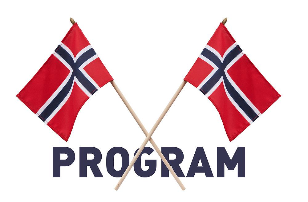 Ferdig grafikk egnet til 17. mai-program. Tekst under to norske flagg i kryss, isolert mot hvit bakgrunn.