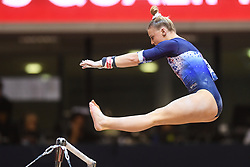 October 28, 2018 - Doha, Qatar - LORETTE CHARPY from France competes on the uneven bars during the second day of preliminary competition held at the Aspire Dome in Doha, Qatar. (Credit Image: © Amy Sanderson/ZUMA Wire)