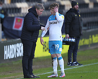 Hull City's Keane Lewis-Potter is spoken to by Hull City's manager Grant McCann <br /> <br /> Photographer Mick Walker/CameraSport<br /> <br /> The EFL League 1 - Burton Albion v Hull City  - Saturday 6th February  2021 -  Pirelli Stadium - Burton on Trent<br /> <br /> World Copyright © 2020 CameraSport. All rights reserved. 43 Linden Ave. Countesthorpe. Leicester. England. LE8 5PG - Tel: +44 (0) 116 277 4147 - admin@camerasport.com - www.camerasport.com