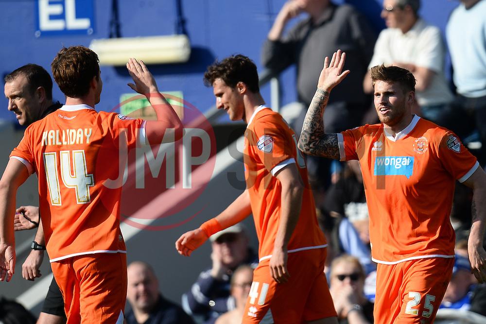 Blackpool's forward David Goodwillie celebrates scoring a goal - Photo mandatory by-line: Mitchell Gunn/JMP - Tel: Mobile: 07966 386802 29/03/2014 - SPORT - FOOTBALL - Loftus Road - London - Queens Park Rangers v Blackpool - Championship