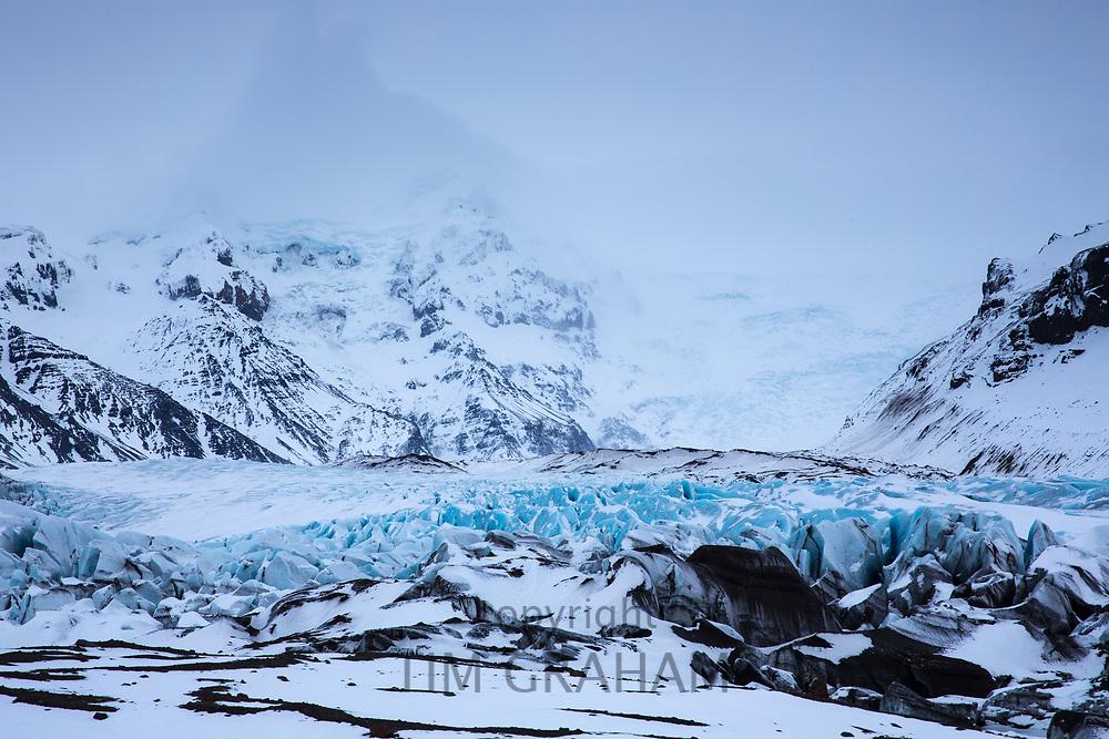 Close up showing glacial tongue of Svinafellsjokull glacier an outlet glacier of Vatnajokull, South Iceland