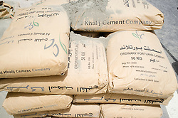 Bags of cement on a construction site in Doha Qatar