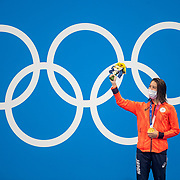 TOKYO, JAPAN - JULY 28: Yui Oahshi of Japan on the podium after winning the gold medal in the 200m Individual Medley for women during the Swimming Finals at the Tokyo Aquatic Centre at the Tokyo 2020 Summer Olympic Games on July 28, 2021 in Tokyo, Japan. (Photo by Tim Clayton/Corbis via Getty Images)