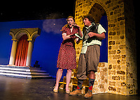 """Set to begin filming in the Arizona desert assistant director Louise Goldman (Kayla Zarella) with Shel (Luke Harding) during a scene in Monday afternoon dress rehearsal for """"Epic Proportions"""" at Gilford High School.  (Karen Bobotas/for the Laconia Daily Sun)"""
