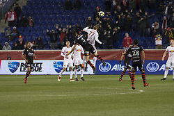 March 13, 2018 - Harrison, New Jersey, United States - Daniel Royer (77) of Red Bulls & Damian Musto (5) of Club Tijuana fight for ball during Scotiabank Concacaf Champions League quarterfinal second leg game at Red Bull Arena Red Bulls won 3 - 1 (5 - 1 on aggregate) (Credit Image: © Lev Radin/Pacific Press via ZUMA Wire)