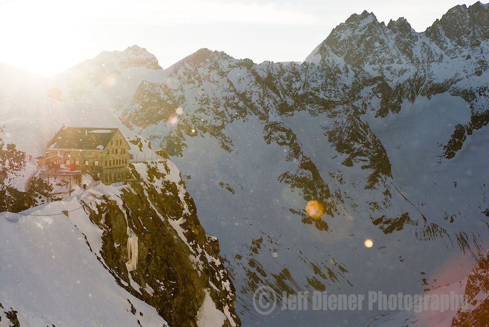 Sunrise behind the Vignettes Hut along the classic Haute Route ski traverse, Switzerland.
