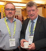 20/11/2014  repro free   David Harlow, Apex Fire Ltd and Aidan Davy DAVAIR ltd at the Galway Bay Hotel for the two day conference Meet West attracting over 400 business people from around Ireland for the largest networking event in the Country . Photo:Andrew Downes