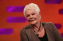 Dame Judi Dench during the filming of the Graham Norton Show at BBC Studioworks 6 Television Centre, Wood Lane, London, to be aired on BBC One on Friday evening.
