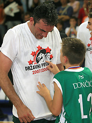 Celebration of Sasa Doncic and his son after fourth (last) final match of UPC Telemach league and Slovenian  National Championship  between KK Helios Domzale, Domzale and Union Olimpija, Ljubljana, Slovenia, on June 7, 2008, in Komunalni center hall in Domzale. Match was won by Union Olimpija 84:60 and Olimpija became National Champion 2007/2008 fourteen times in history of Slovenia. (Photo by Vid Ponikvar / Sportal Images)