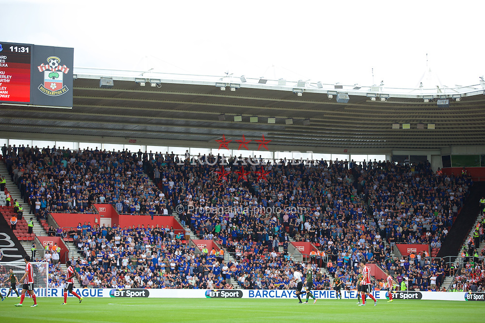 SOUTHAMPTON, ENGLAND - Saturday, August 15, 2015: Everton supporters during the FA Premier League match against Southampton at St Mary's Stadium. (Pic by David Rawcliffe/Propaganda)