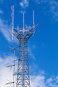 mobile radio base station antennas on  lattice tower <br /> <br /> Editions:- Open Edition Print / Stock Image
