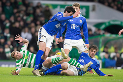 St Johnstone's Joe Shaughnessy and Murray Davidson (right) challenge Celtic's James Forrest (left) during the Ladbrokes Scottish Premiership match at Celtic Park, Glasgow.