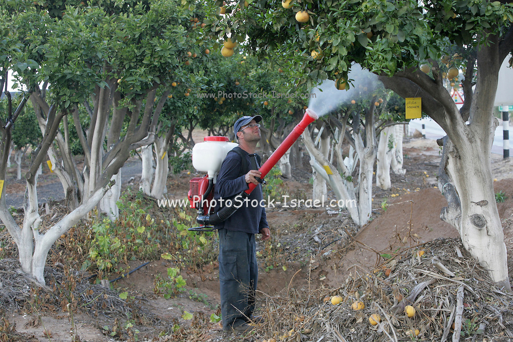 organic Pesticides in an organic orchard. Photographed in Emek Hefer, Israel