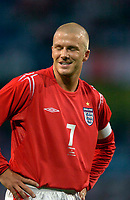 Fotball<br /> Photo. Jed Wee, Digitalsport<br /> NORWAY ONLY<br /> <br /> England v Japan, The FA Summer Tournament, 01/06/2004.<br /> England's David Beckham sports a wry smile after a very average England performance.