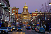 21 DECEMBER 2020 - DES MOINES, IOWA: The Iowa State Capitol in Des Moines. The building was constructed between 1871 and 1886 and John C. Cochrane and Alfred H. Piquenard were the architects.  PHOTO BY JACK KURTZ