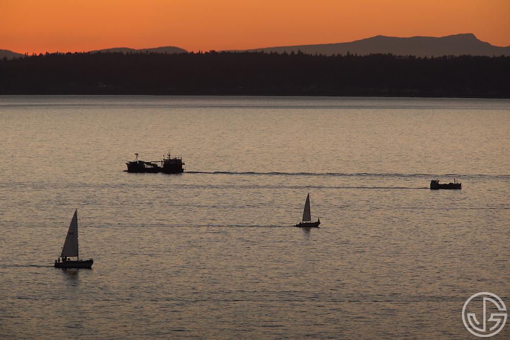 Sailboats on Bellingham Bay, Bellingham, Washington, September 9, 2014.