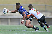 Warriors David Fusitu'a looks to pass in the NRL Trial, Vodafone Warriors v Wests Tigers, Rotorua Stadium, Rotorua, Sunday, March 01, 2020. Copyright photo: Kerry Marshall / www.photosport.nz