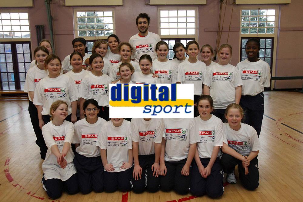 Photo: Rich Eaton.<br /><br />SPAR Sprint Masterclass in Birmingham. 18/01/2007. Martyn Rooney gives a Spar Masterclass at Kings Norton Girls School in Birmingham