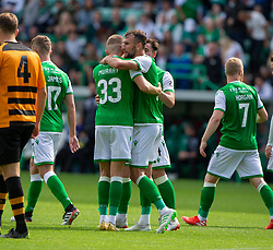 Hibernian's Christian Doidge (9) celebrates after scoring their first goal. Hibernian 2 v 0 Alloa Athletic, Betfred Cup game played Saturday 20th July at Easter Road, Edinburgh.