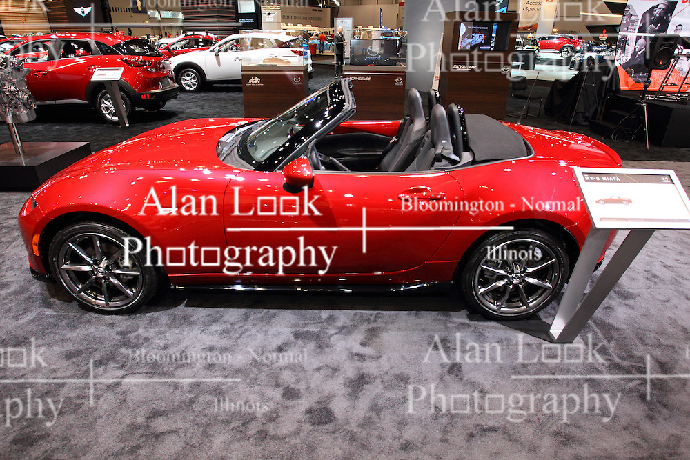 11 February 2016:  Mazda MX-5 Miata.<br /> <br /> First staged in 1901, the Chicago Auto Show is the largest auto show in North America and has been held more times than any other auto exposition on the continent.  It has been  presented by the Chicago Automobile Trade Association (CATA) since 1935.  It is held at McCormick Place, Chicago Illinois<br /> #CAS16