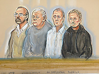 Defendants Left to right<br /> Carl Wood, William Lincoln, Jon Harbinson and Hugh Doyle.<br /> The four are charged with conspiracy to conceal, convert or transfer criminal property in respect the Hatton Garden robbery, Easter weekend 2015.<br /> This drawing completed on the day the jury sworn in